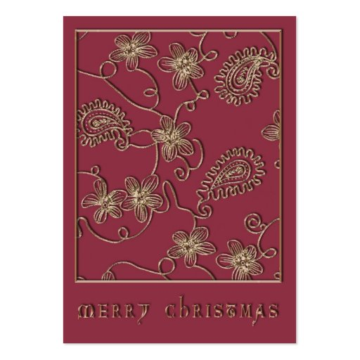 Ruby Gold Christmas Gift Tag Business Card Templates