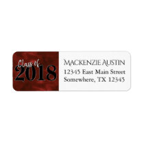 Ruby Graduation | Red Black White Modern Address Label