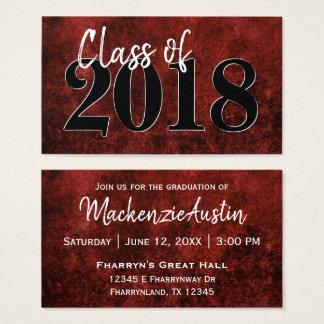 Ruby Graduation | Red Black White Modern Grad Business Card
