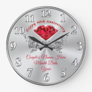 Ruby Happy 40th Anniversary Clock with Your Text