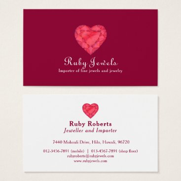 Professional Business Ruby heart jewel jewelry business card