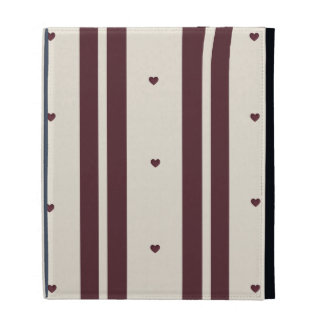 Ruby Hearts and Stripes  iPad Folio by Caseable iPad Folio Cover