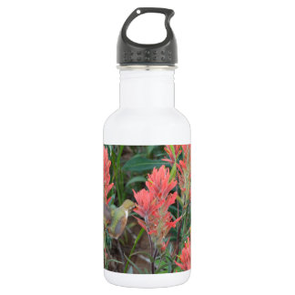 Ruby in Red Flowers Hummingbird 18oz Water Bottle