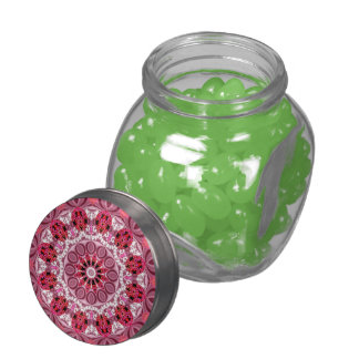 Ruby Jewels Mandala, Abstract Rose Lace Glass Candy Jar