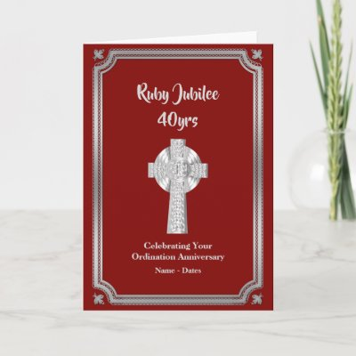 RUBY Jubilee Ordination Anniversary Priest 40th Card