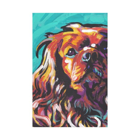 Ruby King Charles Cavalier Canvas Wrapped Pop Art  3aec64342b