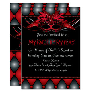 Ruby Masquerade Party Invitations