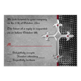 Ruby Medieval Celtic Cross RSVP Card