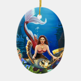 Ruby Mermaid with Sea Turtle Ornament Ornaments