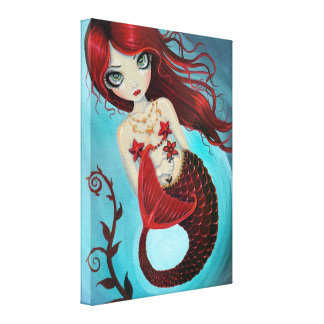 Ruby Mermaid Wrapped Canvas Print