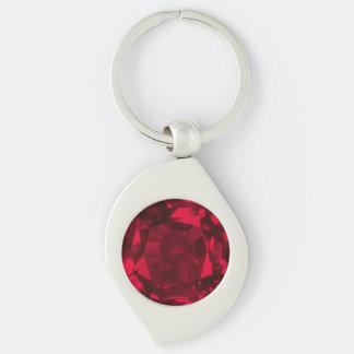 Ruby Silver-Colored Swirl Metal Keychain