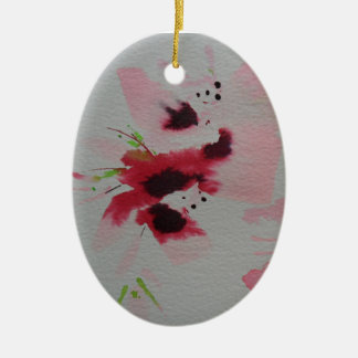 Ruby, pink and lime abstract flower spray ceramic ornament