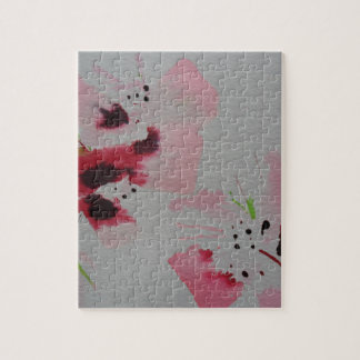 Ruby, pink and lime abstract flower spray jigsaw puzzle