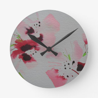 Ruby, pink and lime abstract flower spray round clock