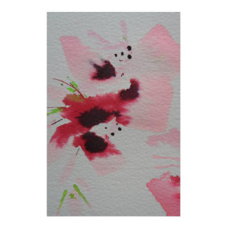 Ruby, pink and lime abstract flower spray customized stationery