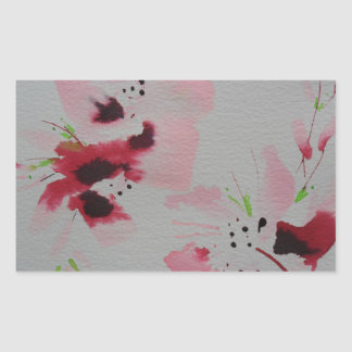 Ruby, pink and lime abstract flower spray rectangular sticker