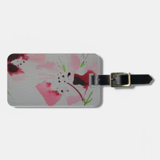 Ruby, pink and lime abstract flower spray tag for luggage