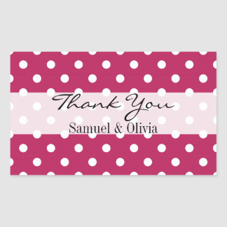 Ruby Pink Rectangle Custom Polka Dotted Thank You Rectangular Sticker