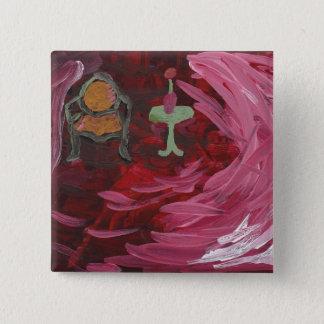 Ruby Red Acrylic Still Scene Pinback Button