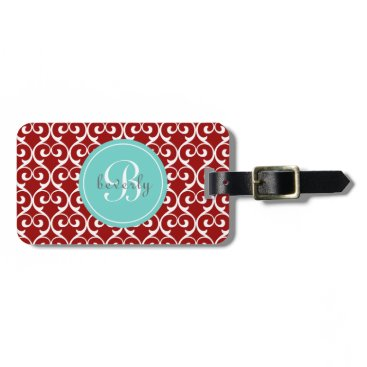 heartlocked Ruby Red and Aqua Heartlocked Print Luggage Tag