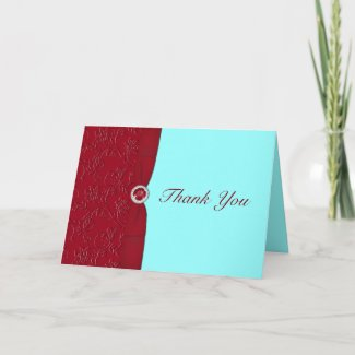 Ruby Red and Aqua Thank You Card card