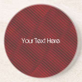 Ruby Red and Black Pattern Drink Coaster