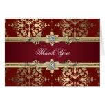 Ruby Red and Gold Damask Thank You Cards