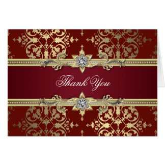 Ruby Red and Gold Damask Thank You Cards Note Card