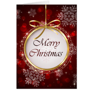 Ruby Red and Gold Ornament Chritsmas Card