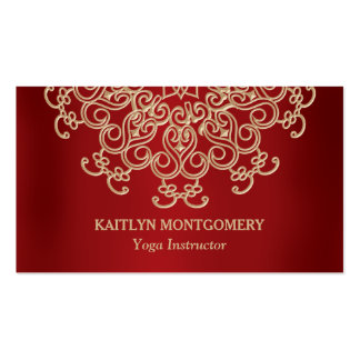 Ruby Red and Gold Ornate Sunburst Mandala Business Card