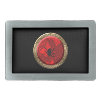 Ruby Red and Gold Spider Jewel Goth art Rectangular Belt Buckles