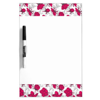 Ruby Red and Gray Vintage Floral Pattern Dry-Erase Board