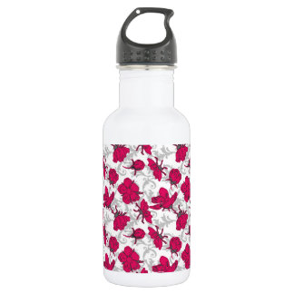 Ruby Red and Gray Vintage Floral Pattern Stainless Steel Water Bottle