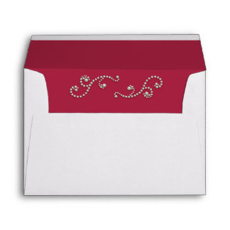 Ruby Red and Pearls Invitation Envelope