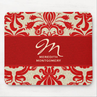 Ruby Red and Taupe | Monogrammed Mousepad Mouse Pad