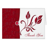 Ruby Red and White Floral Thank you Card Card