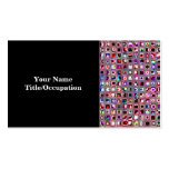 Ruby Red 'Bijoux' Textured Mosaic Tiles Pattern Business Cards