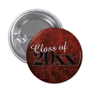 Ruby Red & Black Marble Jewel Tone Graduate Party Pinback Button