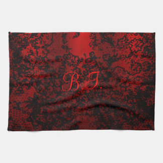 Ruby red black stylish floral vibrant elegant kitchen towel