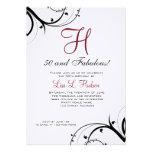 Ruby Red Black White Swirls 50th Birthday Personalized Invitation