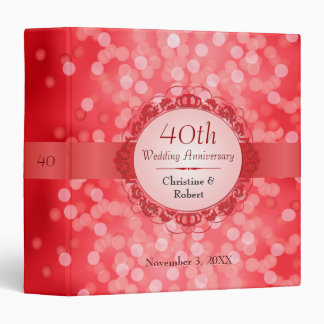 Ruby Red Bokeh 40th Anniversary 3 Ring Binders