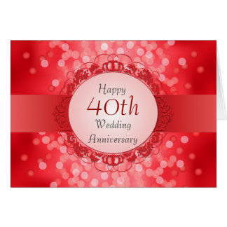 Ruby Red Bokeh 40th Anniversary Card