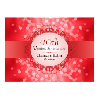 Ruby Red Bokeh 40th Anniversary Party Personalized Invitation
