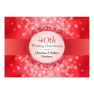 Ruby Red Bokeh 40th Anniversary Party Invitation