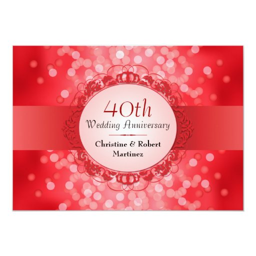 Ruby Red Bokeh 40th Anniversary Party Personalized Invitation (front side)