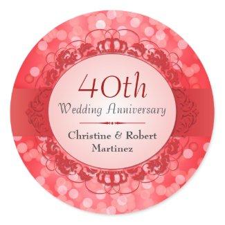 Ruby Red Bokeh 40th Anniversary Sticker