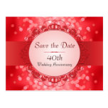 Ruby Red Bokeh Save the Date 40th Anniversary Postcards