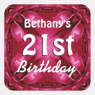 RUBY RED Bows 21st Birthday Custom Name A06 Square Sticker