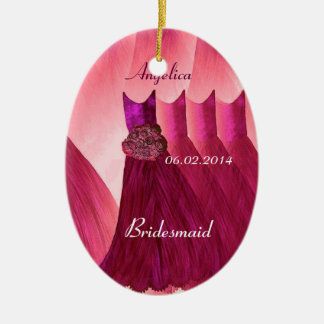 Ruby Red Bridesmaid Thank You Wedding V005 Ceramic Ornament