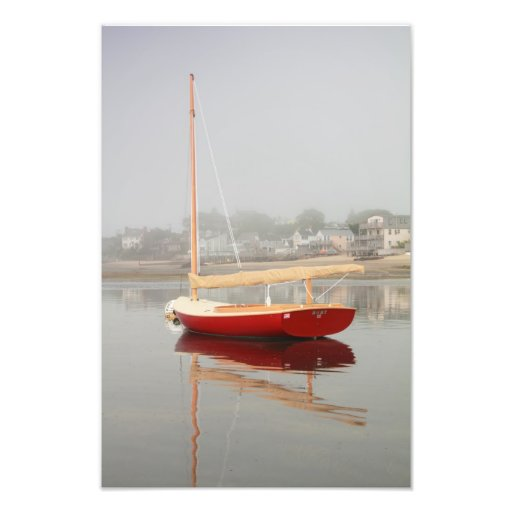 Ruby Red Catboat in Provincetown Harbor Photo Print